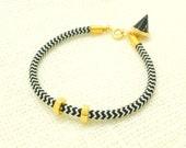 Black Chevron Bracelet - Rope Bracelet - Hold Hex Nut Bracelet - Black Marble Pyramid Bracelet - Geometric Bracelet