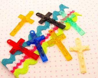 Colorful Vintage Plastic Crucifix Rosary Cross Mix Destash - 7