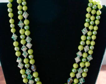 "Vintage Multi Strand Lime Green Bead Necklace & Earrings - Demi Parure - ""Lime Sherbert"" - SALE"