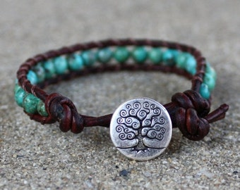 ON SALE turquoise leather bracelet tree throat chakra unisex for guys and girls