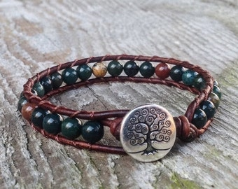ON SALE indian Bloodstone bracelet green beaded leather wrap with tree heart root and sacral chakra unisex for men and women