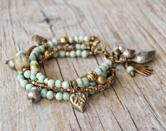 Bohemian bracelet, beaded boho bracelet, hippie gypsy tribal jewelry, gift for her, Valentines Day, multi layer bracelet