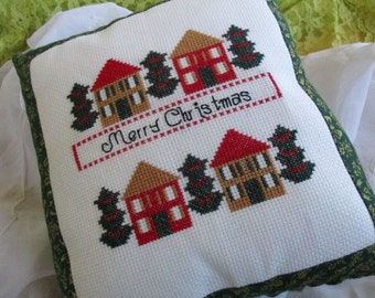Merry Christmas Counted Crosstitch 10 X 10 pillow cotton backing Very good Christmas Decor