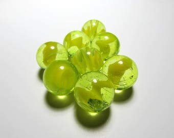 Playing Marbles - UV Reactive Glass - Set of 8