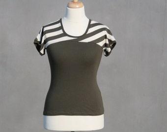 Organic shirt, size L, green shirt, striped shirt, short sleeved, slim fit, Organic cotton, cap sleeves, eco friendly woman, Casual shirt