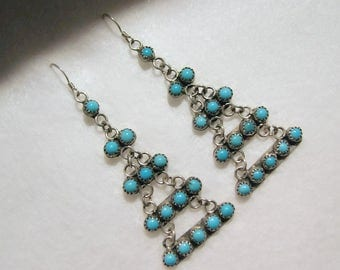 "Vintage Native American BEN CHAVEZ Tiered Earrings -- Sterling Silver and Turquoise, 2-3/4"" long, 8.6g, Signed"