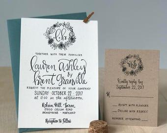 Rustic Wedding Invitation / Wreath Wedding Invitation / Simple Wedding Invite / Shabby Chic Wedding Invitation / Floral Invitation