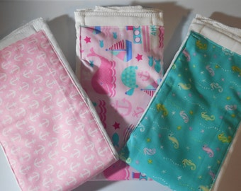 Pink Nautical Set of Burp Cloths