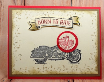 Handmade Masculine Motorcycle Stamped Birthday Card-Father's Day-Born to Ride-Harley-Masculine Birthday card-Motorcycle Lover