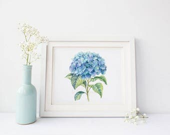 Printable Hydrangea Decor Blue Hydrangea Wall Art Pastel Gift for Her Delicate Watercolor Painting Whimsical Home Decor Chic Minimalist Art