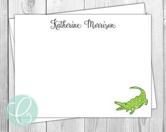 Flat Note Cards - Gator / Alligator - Set of 12 - Personalized Stationery - Gift Idea - University of Florida - Preppy - Florida Gators