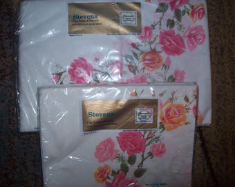Stevens Utica Mohawk Sheet Twin Bed and 2 Pillowcases PARISIAN ROSE  All Cotton