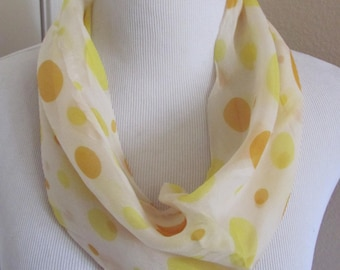 """Scarf Lovely White Yellow Soft Sheer Cowl Scarf 9"""" x 14"""" - Affordable Scarves!!!"""