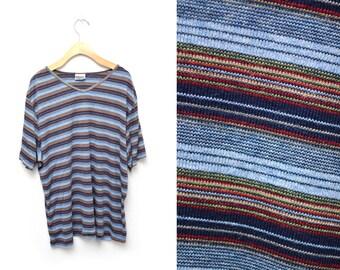 90s Striped T-shirt Women's XXL Plus Size Basic V-neck
