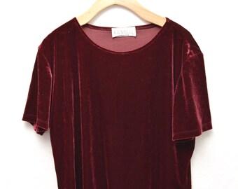 90s Maroon Velvet T-shirt Women's Size Large XL Floral Vines