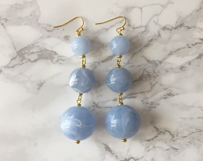 Orbital Drop Earrings - Marbled Pale Blue