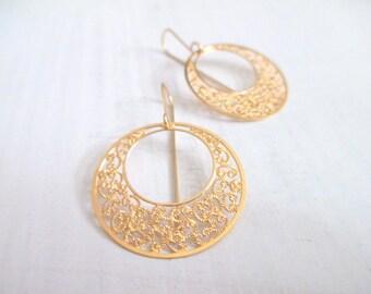 Boho earrings, filigree earrigs gold, gold earrings, bohemian jewelry, dangle earrings, gift idea for her