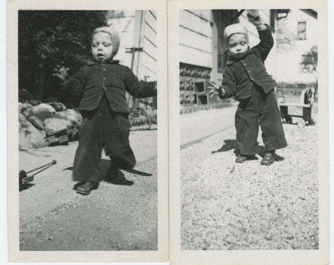Set of 2 Vintage Snapshot Photos: A Matter of Balance, c1940s (71540)