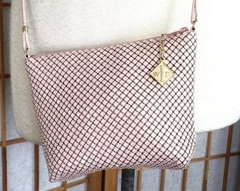 Vintage 60s Whiting and Davis Pink Metal Mesh Shoulder Bag