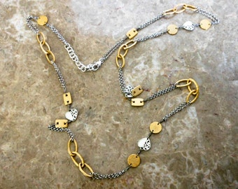 Art Deco Lariat Chain Necklace   Heavy Necklace   41 Inch Silver & gold Tone Necklace
