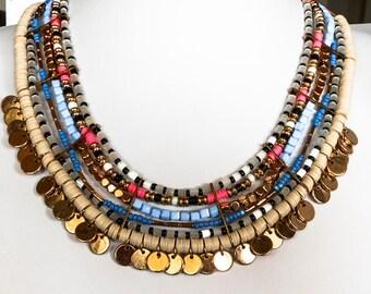 Vintage Runway Multi Strand Bib Necklace        19-22 Inches    Vivid Colors