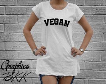 VEGAN Shirt Women's oversized T-Shirt Mini Dress Vegan T-Shirt unisex tee funny slogan party Vegetarian (M-L) Free Shipping