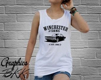 Supernatural T-Shirt Supernatural Shirt Women's Tank Top Shirt tee Winchester and sons Impala (XS-L) Free Shipping