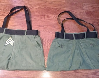 Bag Re-Purposed from vintage US Military Surplus Trousers.