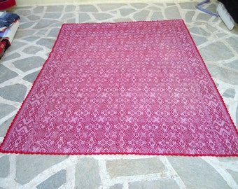 Vintage handwoven bedspread/blanket with crochet lace-Mediterranean style-Farm house decor-House warming-Geometrical design-999