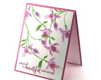 Pink Fuchsia flower card, exotic floral blooms, purple hanging flowers blank card, you are beautiful note card