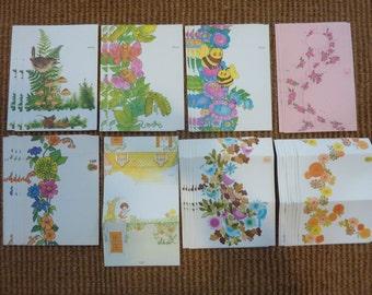36 Vintage Folding Fold Up Letter Note Card Stationery Fold-N-Seal Supply Lot