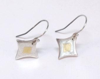 Fine Silver & 24k Gold Earrings