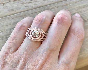 Art Deco Wedding Set - Unique Engagement Ring Set- Halo Round Wedding Set Ring- Matching Band Engagement Ring- Rose Gold Bridal Set Ring