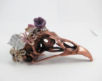 electroformed sculpture little bastards collection: bird skull with flower crown