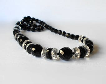 Vintage Necklace Jet Black & Clear faceted Glass Beads