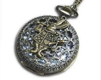 Alice in Wonderland White Rabbit Pocket Watch - Clock Pendant with Alice adventure Pocket Watch Necklace