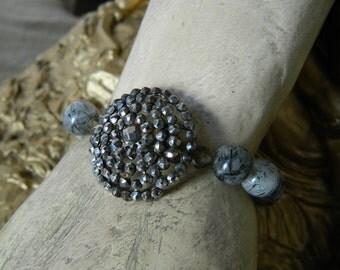 SALE 15% coupon code MARCH15 Stretch Bracelet Antique French Steel Cut Button Rhutilated Quartz by 58diamond