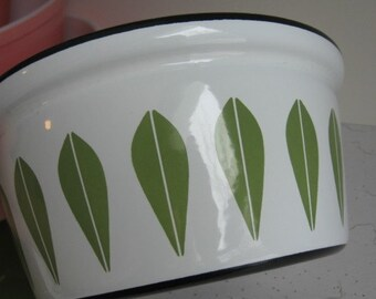 "Vintage Cathrineholm Lotus Enamel  Dutch Oven, Pot, White, Green Lotus Pattern, Danish Modern, 8.5""  Enamelware Pot"