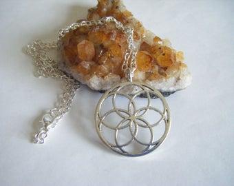 Spiritual Inspirational Seed of Life Necklace Sacred Geometry Wellness Oneness Cosmic Love Eco Yoga Meditation Universe Love Unisex