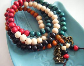 Spiritual Inspirational Healing Mala Necklace/Bracelet Ganesha/Ganesh Wellness Oneness Cosmic Eco Beads Yoga Meditate Consciousness