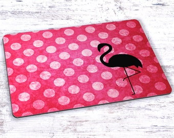 Flamingo Polka Dots Watercolor Mousepad - 7.75 x 9.25