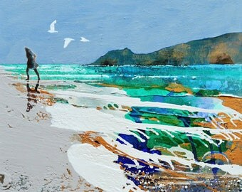 "Print of painting - ""Echoes Of You"" by Melanie McDonald - art print - large print - print of woman walking on beach - fine art - beach art"