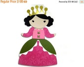 On SALE: Princess Paper Doll Happy Birthday Card , Princess with Crown and Birthday Greeting