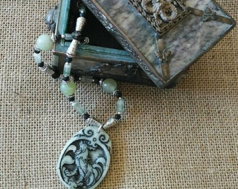 IRRESISTIBLE   Singing Rooster jade pendant.  on elaborate necklace