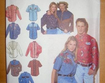 Free shipping! Simplicity 8607 Western shirt sewing pattern LG-XL UNCUT