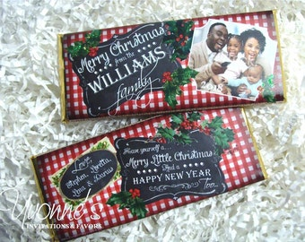 Christmas Candy Bar Wrapper Photo-Chocolate Bar Christmas Card Favor-Vintage Chalkboard w/photo-Holiday Party-Stocking Stuffer-Office Gift