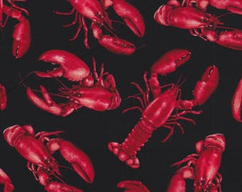 Timeless Treasures Fabric, Red Lobsters on Black