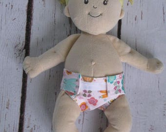Doll Diaper-Handmade Diaper fits Baby Stella, Pottery Barn Doll other dolls-Pink, green & Orange Peacock print diaper-Great for pretend play