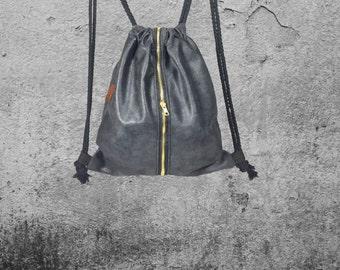Elegant backpack bag textile leather black with ZIPPER