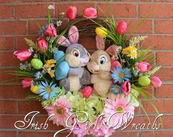 Thumper Easter Wreath, Thumper & Girlfriend Tulip Garden Wreath, Gerbera Daisy Spring Wreath, Disney Wreath, Daffodil, Blue